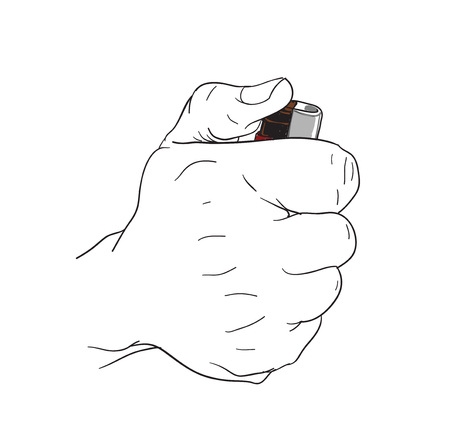 hand holding lighter Illustration