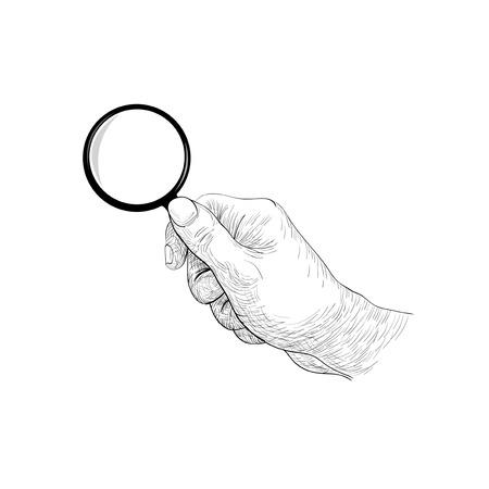 hand holding len Ilustração