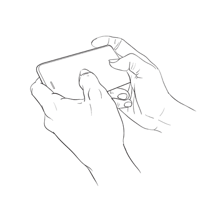 mobilephone: Hand holding mobile phone, vector