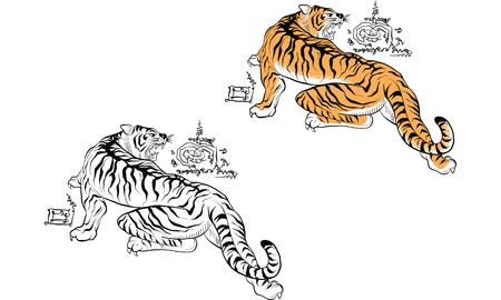 Thai traditional tattoo Illustration