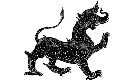 animal in Thai traditional tattoo, Thai traditional painting in temple, vector 向量圖像