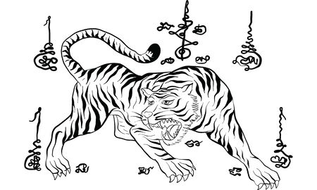 tiger in Thai tradition style,Thai tattoo, vector