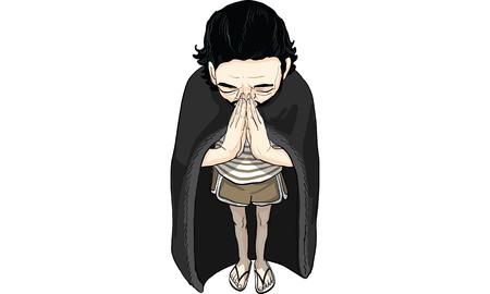 남자 액션 만화 bowing 스톡 콘텐츠 - 87896282