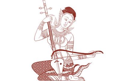 전통적인 악기 연주 여자의 태국 전통 문신