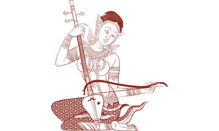 Thai tradition tattoo of woman playing traditional musical instrument