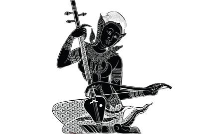 thai musical instrument: Thai tradition tattoo of woman playing traditional musical instrument