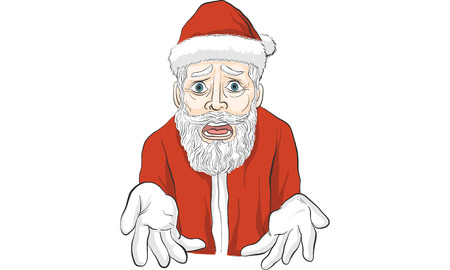 Santa Claus extending her hand outward in a clueless surprised facial expression. Illustration