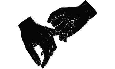 手を握る指