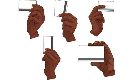 Hand holding card in different position. Illustration