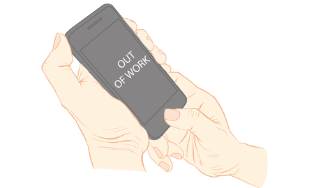hand holding cellphone Vector illustration isolated on white background.