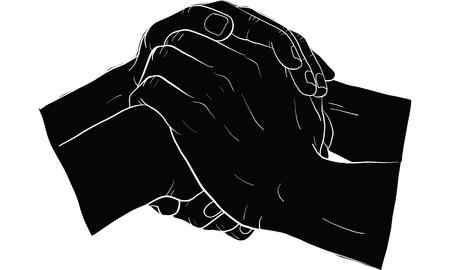 holding hands Vector illustration on white background.