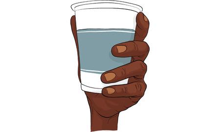 Hand holding cup of water vector illustration Ilustração