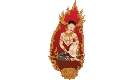 Angel house in Thai traditional painting design Illustration