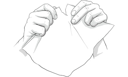 hand tearing paper vector