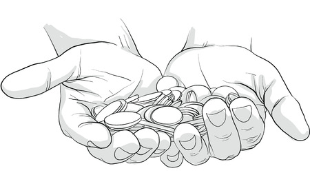 hand holding gold coins vector