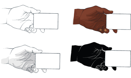 hand holding business card, vector