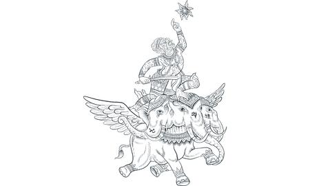 Thai traditional tattoo design template