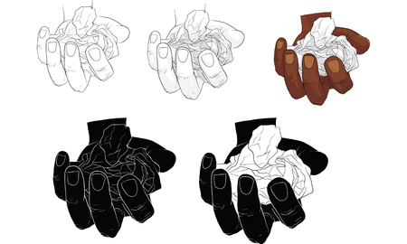 hand tearing and crooking paper, vector