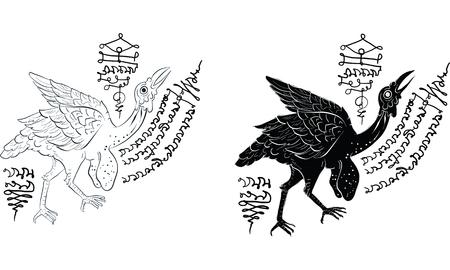 condor in Thai tradition painting,Thai tattoo, vector Illustration