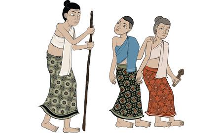 animal in Thai tradition painting,Thai tattoo, vector Illustration