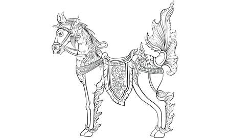animal in Thai tradition painting,Thai tattoo, vector Иллюстрация