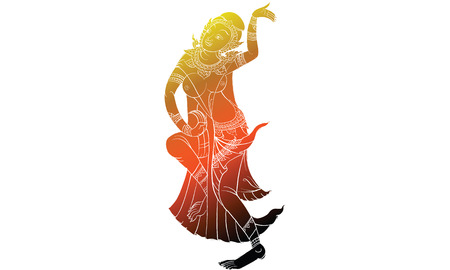 Dancing woman in Thai traditional temple painting, vector