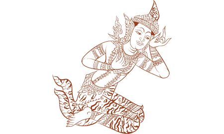 Thai traditional painting in temple, vector Thai trad