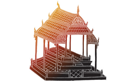 Thai traditional painting in temple, vector