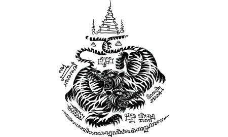 animal in Thai traditional tattoo, Thai traditional painting in temple, vector Stock Illustratie