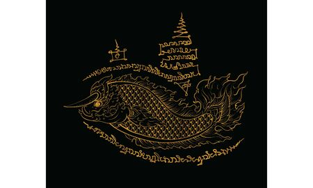 Thai traditional tattoo, Thai traditional painting in temple, vector Banque d'images - 130986455