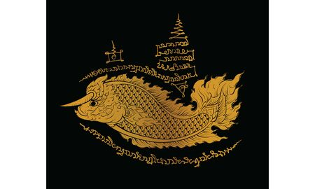 Thai traditional tattoo, Thai traditional painting in temple, vector