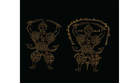 Thai traditional painting in temple, vector Thai traditional tattoo vector