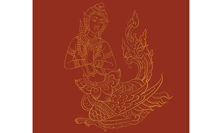 Thai traditional backdrop, Thai traditional painting in temple, vector