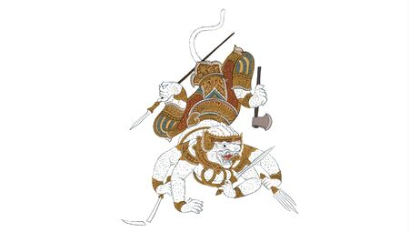 Hanuman,Thai traditional backdrop, Thai traditional painting in temple, vector