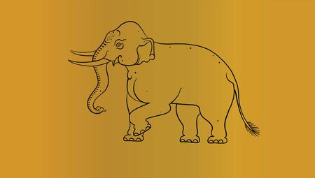 elephant in Thai traditional painting vector Illustration