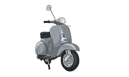 Motorcycle and vehicle, vintage scooter, vector