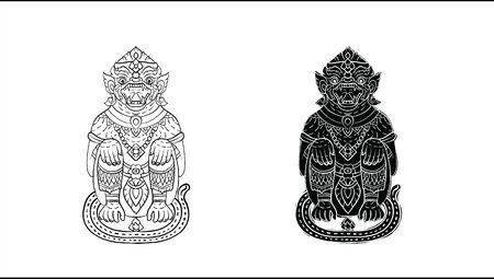 Hanuman, Thai traditional backdrop, Thai traditional painting in temple, vector Reklamní fotografie - 150531176