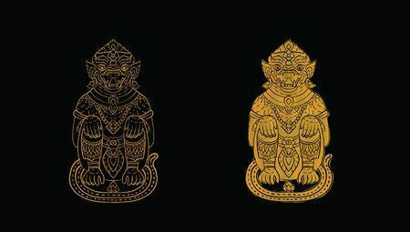 Hanuman, Thai traditional backdrop, Thai traditional painting in temple, vector Illustration