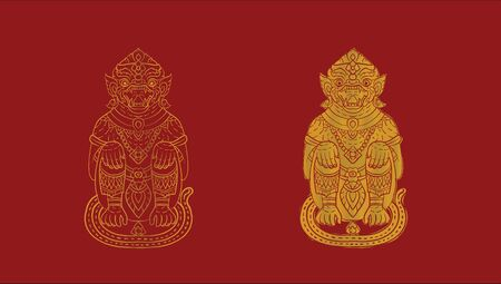 Hanuman, Thai traditional backdrop, Thai traditional painting in temple, vector Ilustrace
