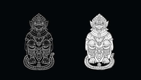 Hanuman, Thai traditional backdrop, Thai traditional painting in temple, vector Vectores