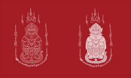Animal in Thai traditional tattoo, Thai traditional painting in temple, vector
