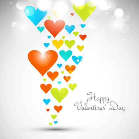 Beautiful valentines day with colorful hearts  Stock Vector - 17421939