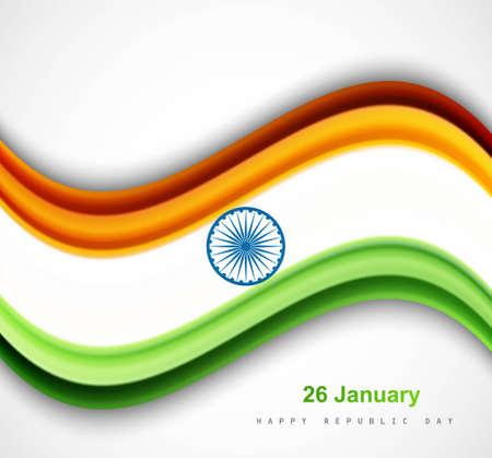 beautiful shiny indian flag wave vector design art Stock Vector - 17473063