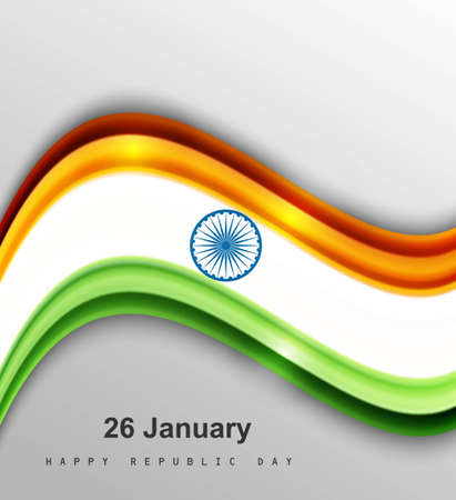 beautiful shiny stylish indian flag wave vector illustration Stock Vector - 17473064