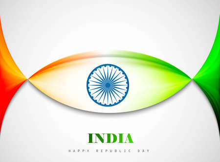 Indian flag background with creative wave vector illustration Stock Vector - 17473068