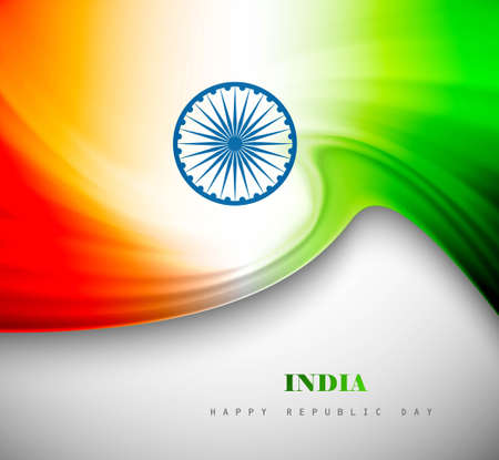 Indian flag background with creative wave colorful design Vector