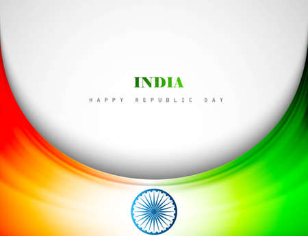 Creative Indian flag colorful stylish wave for Republic Day Vector Illustration