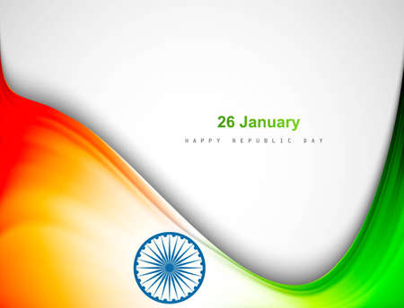 Indian tricolor flag wave background for Republic Day vector design  Stock Vector - 17473059