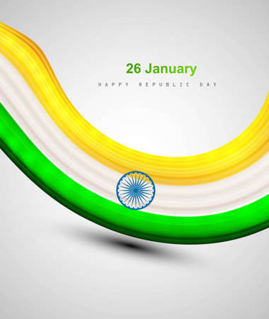 Indian shiny flag colorful bright tricolor wave vector Stock Vector - 17473056