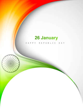 republic day: indian flag in creative wave stylish design Illustration
